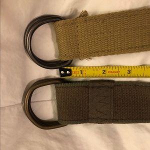 2 olive green canvas belt belts 32 34